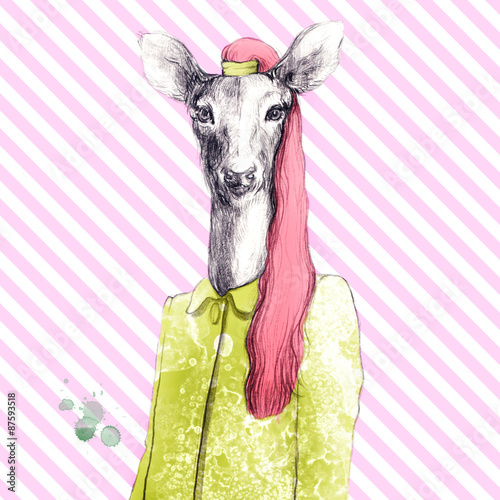 fashion animal .watercolor illustration - 87593518