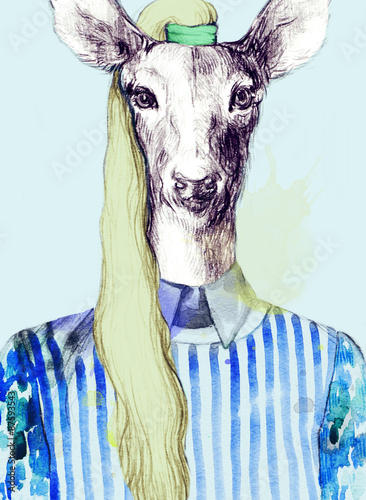 fashion animal .watercolor illustration - 87593543