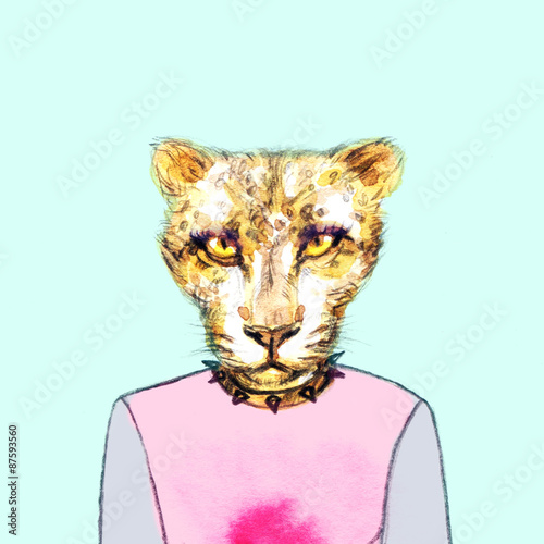 fashion animal .watercolor illustration - 87593560