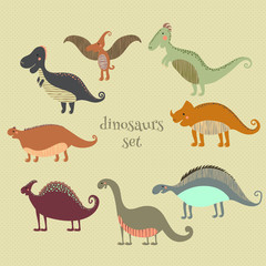 Retro poster with set funny dinosaurs in cartoon. Can be used for wallpapers, pattern fills, web page backgrounds,surface textures. - stock vector collection