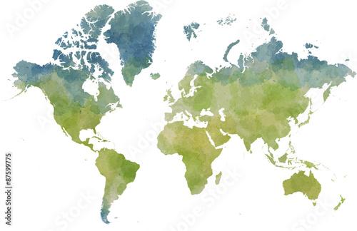 Fotobehang Wereldkaarten Cartina mondo, disegnata illustrata pennellate