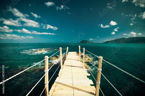 wooden bridge - sea, summer.