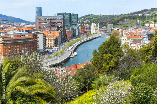 Poster Vista de la ciudad de Bilbao desde el parque Etxebarria (España)