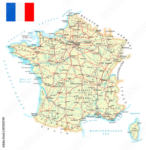 Poster France - detailed map - illustration
