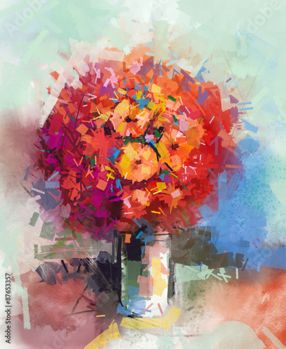 abstract-still-life-a-bouquet-of-flowers-oil-painting-red-gerbera-flowers-in-vase-hand-painted-floral-in-impressionist-style