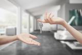 Fototapety Consegna chiavi casa in mano interno