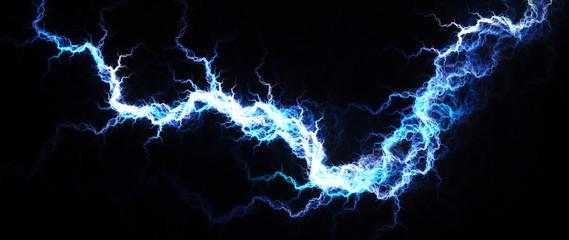 Electric Blue - Digital fractal of hot blue lightning, electrical background.