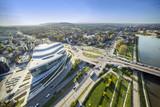 Panorama z góry nowoczesnej części Krakowa
