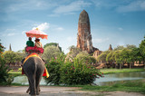 Tourists on an elephant ride tour of the ancient city Ayutaya ,thailand - Fine Art prints
