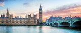 London, UK panorama. Big Ben in Westminster Palace on River Thames at sunset - 87682101