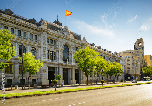 The Bank of Spain (Banco de Espana) on Calle de Alcala in Madrid