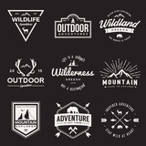 Fototapety vector set of wilderness and nature exploration vintage  logos, emblems, silhouettes and design elements. outdoor activity symbols with grunge textures