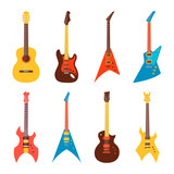Fototapety acoustic and electric guitars set. flat style vector illustration