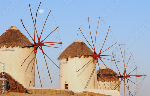 Windmills of Mykonos, famous landmark. Greece.