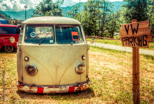 Poster, Tablou Van parked in a sunny summer day