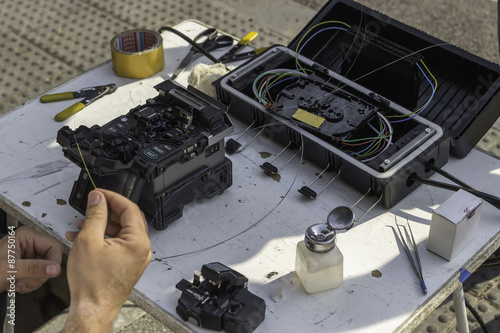 poster of Fibre optic splicing equipment on the street