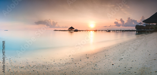Panorama of sunrise in the Maldives