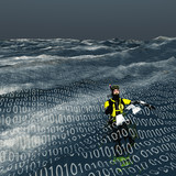 Diver floats at surface of binary sea Computer and internet conc