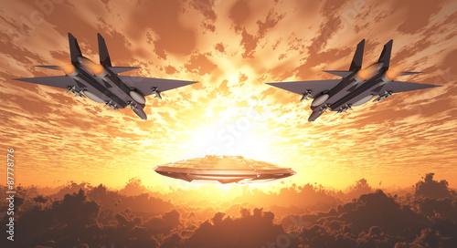 Foto op Canvas UFO Military Jets Pursue UFO