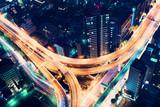 Fototapety Aerial-view highway junction at night in Tokyo, Japan