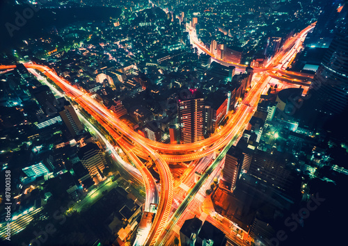 Poster Aerial view of a massive highway intersection in Tokyo