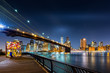 Brooklyn Bridge and the Lower Manhattan skyline by night as viewed from  Brooklyn Bridge Park in New York City