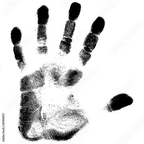 grunge hand print on a white