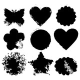 Set of 9 vector abstract grunge backgrounds. Heart, circle, scallop, flower, square, butterfly