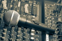 Audio mixer and microphone.