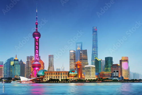 Plakát, Obraz Shangahi panorama, Čína.