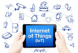 Hand hold tablet with Internet of things (IoT) word on screen wi poster