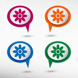 Pictograph of flower on colorful chat speech bubbles  poster
