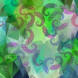 Green triangle and polygonal background with grub elements. poster