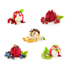 Mixed ice cream with fruits isolated on white  background.