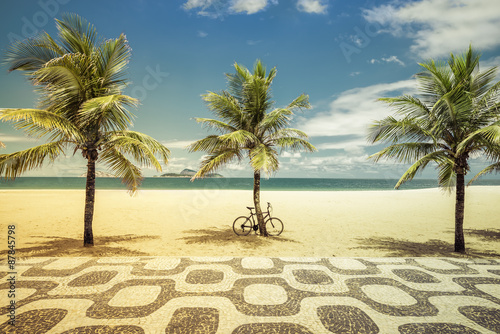 fototapeta na ścianę Palms with bicycle on Ipanema Beach in Rio de Janeiro