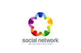 Social network Logo design vector template with abstract charact - 87847900