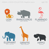 Africa Safari Wild Animals Logos negative space style design vec - 87847931