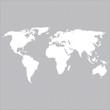 weiße Weltkarte auf dem grauen Hintergrund