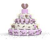 Roze chocolade taart voor meisje van 1