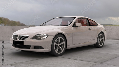 3D computer rendered German luxury sport limousine with a cloudy background
