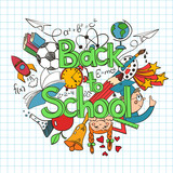 Colorful sketch Back to School Background.