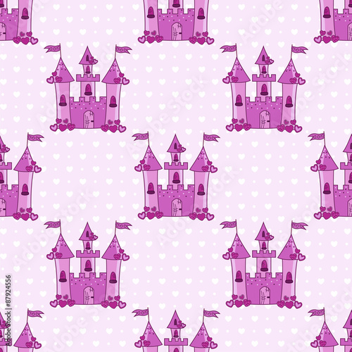 Papiers peints Hibou Seamless pattern with pink castles for a princess