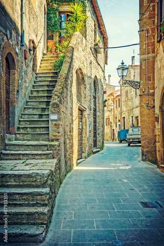 Fototapety, obrazy : Alley in old town Pitigliano Tuscany Italy
