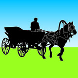Silhouette  horse and carriage  with coachman. Vector illustrati