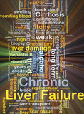Chronic liver failure background concept glowing poster