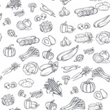 Fototapety Seamless pattern with hand drawn vegetables.