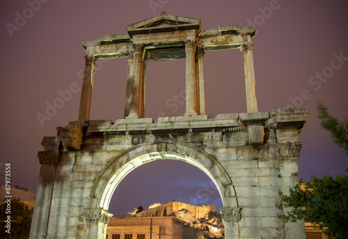Arch of Hadrian at night, Athens, Greece Poster
