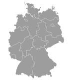 Fototapety Deutschland Karte und Bundesländer Landkarte Europa