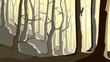 Horizontal illustration of cartoon forest on hill.