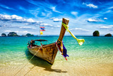 Fototapety Long tail boat on beach, Thailand